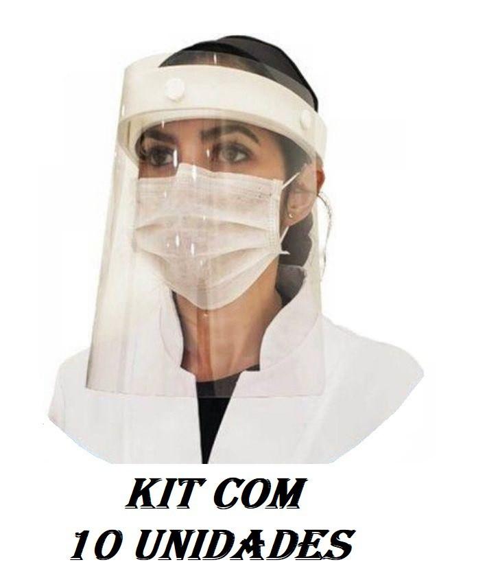Protetor Facial Face Shield Viseira cinta de EVA Branca Grintoy Kit 10 unid.  - Mix Eletro