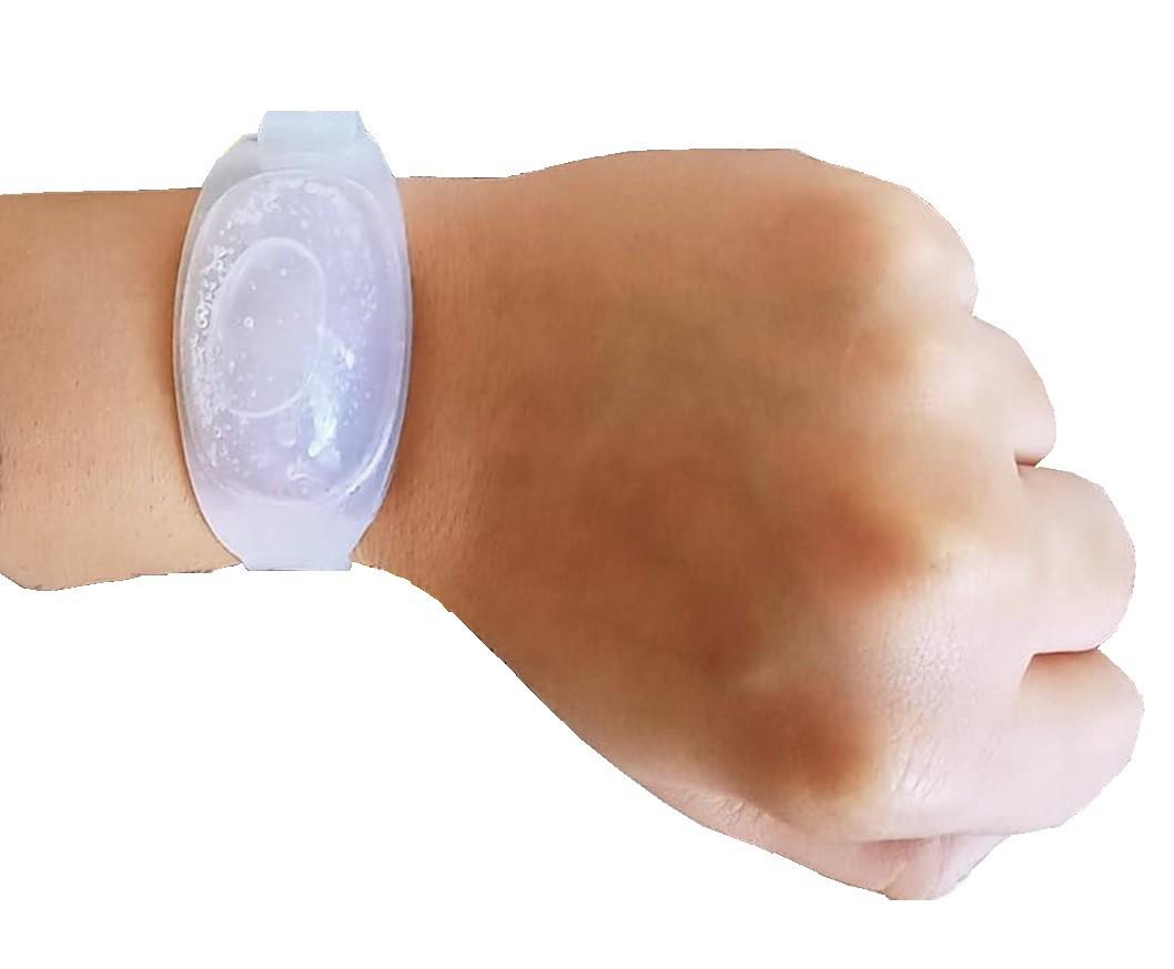Pulseira dispenser de álcool gel em silicone 10ml com seringa.  - Mix Eletro