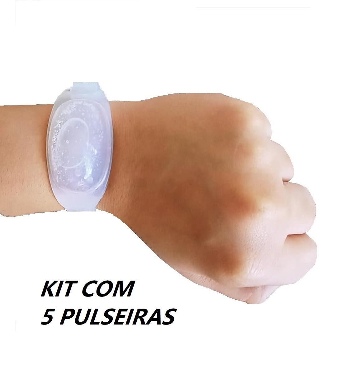 Pulseira dispenser de álcool gel em silicone 10ml com seringa Kit 5 pçs  - Mix Eletro