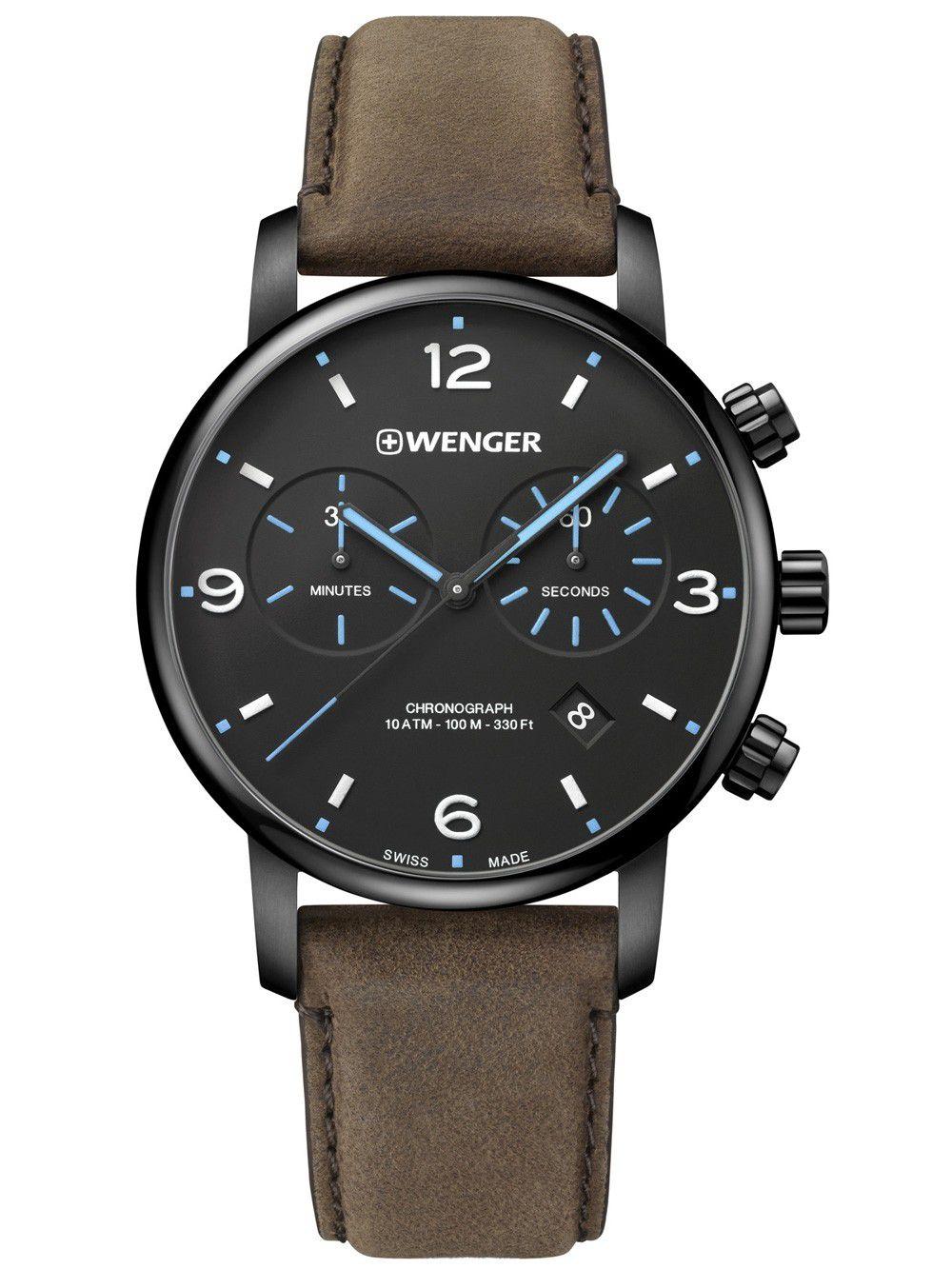 Relógio de Pulso social suíço Wenger Urban Metropolitan Chrono 44mm 01.1743.112  - Mix Eletro