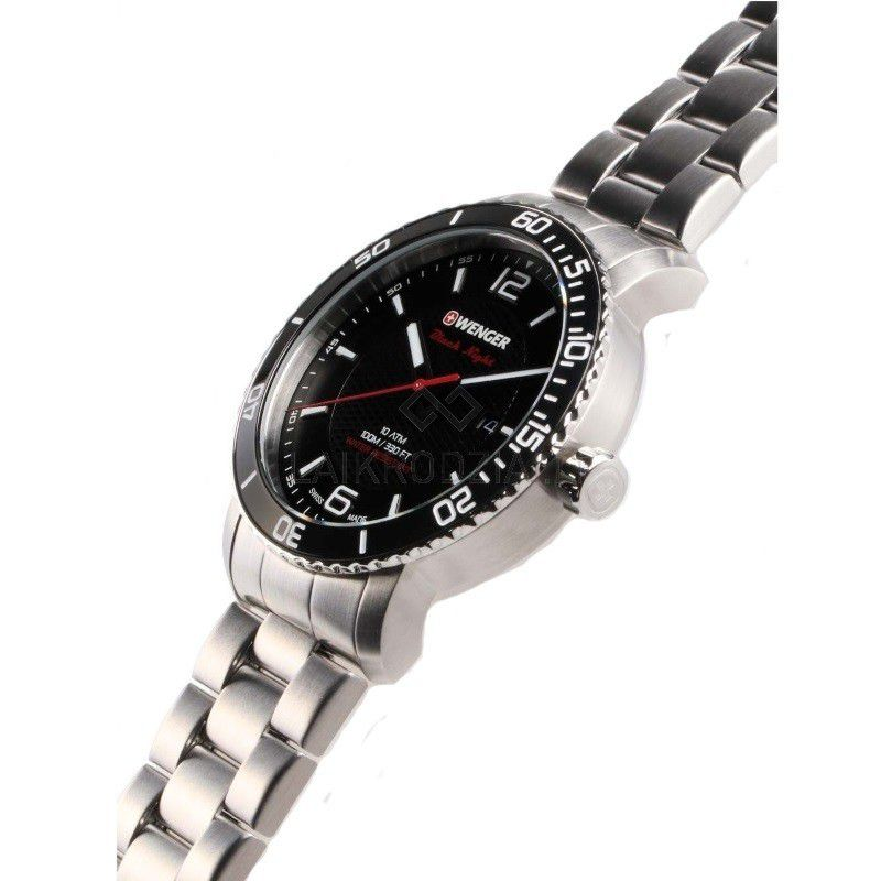 Relógio masculino Suíço Wenger Roadster Black Night 45mm 01.1841.104  - Mix Eletro