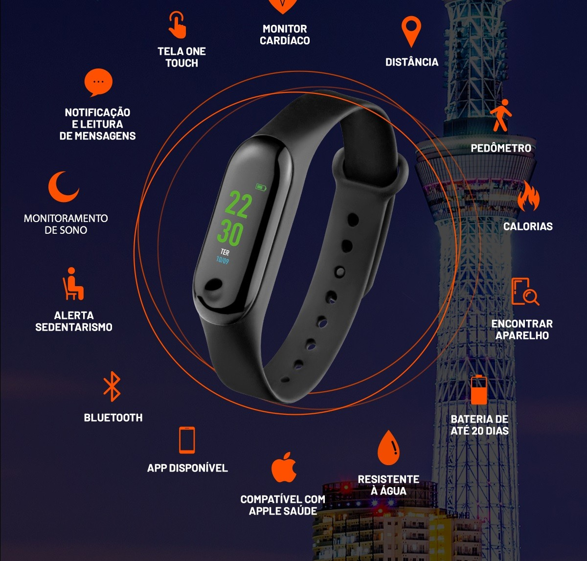 Relógio Smartband Esportivo Tóquio Calorias Passos M Cardíaco Bluetooth Átrio ES264  - Mix Eletro