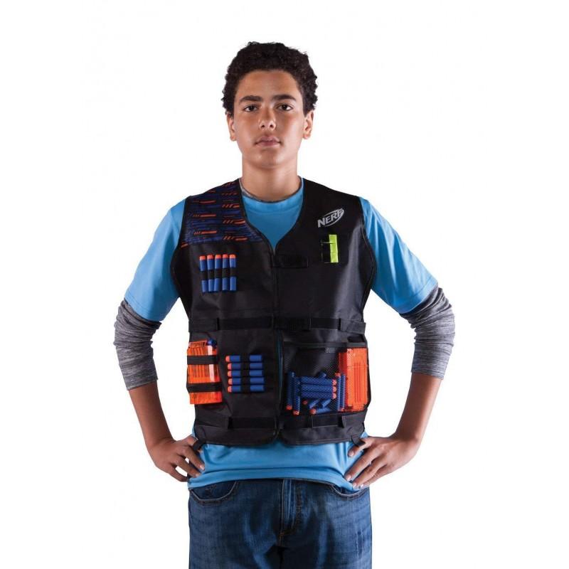 Super Kit tático NERF Elite Mochila Saco, Colete, Coldre e saco de Dardos Multikids  - Mix Eletro