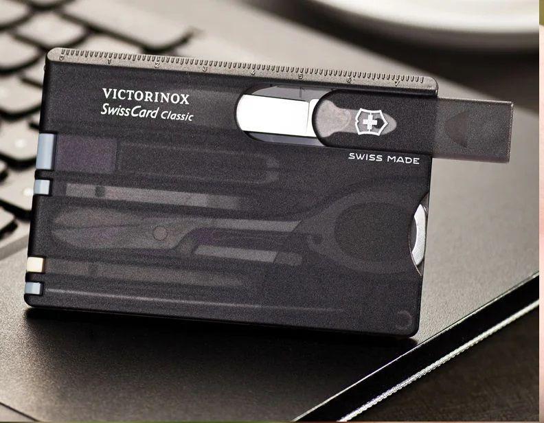 Swisscard Suiço 10 funções Victorinox Classic Preto Translúcido 0.7133.T3  - Mix Eletro