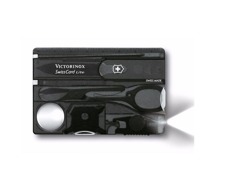 Swisscard Suiço 13 funções Victorinox Lite Preto Translúcido 0.7333.T3  - Mix Eletro