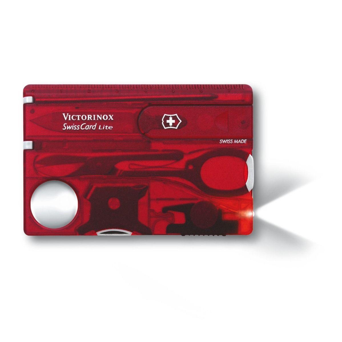Swisscard Suiço 13 funções Victorinox Lite Vermelho Translúcido 0.7300.T  - Mix Eletro