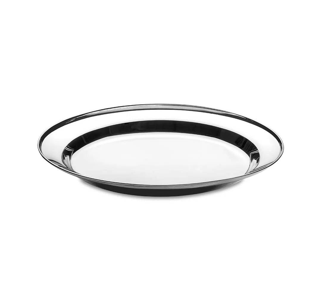 Travessa oval de servir em aço inox 34cm com pegador Up Home UD023  - Mix Eletro