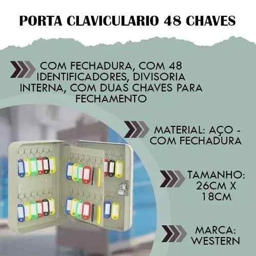 Claviculário Armario Com 48 Chaveiros Porta Chave Cl-48