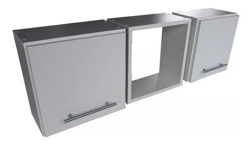 - Conjunto 3 Nichos Decorativos Mdf 30x30x15cm 2 Com Porta