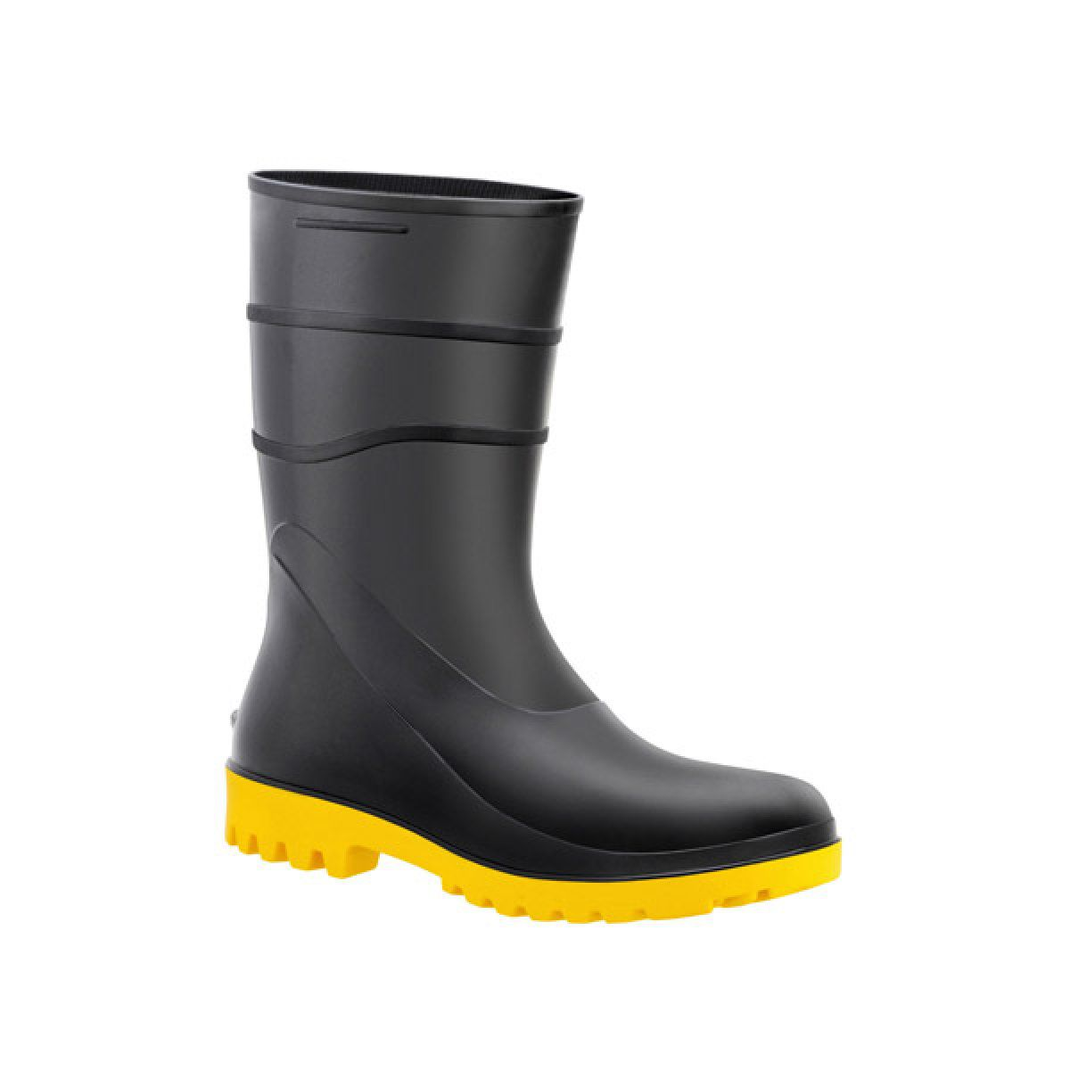Bota de PVC Preta c/ Solado Amarelo N°44 - BRACOL