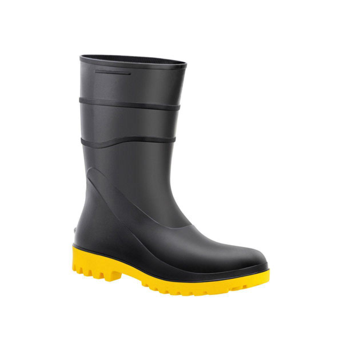 Bota de PVC Preta c/ Solado Amarelo N°45 - BRACOL