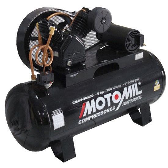 Compressor Ar 5CV 175LBS CMAV-20/200L Trifásico - Motomil
