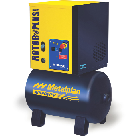 Compressor Parafuso 10hp 9bar 97L Trif 220V Rotor Plus - Metalplan