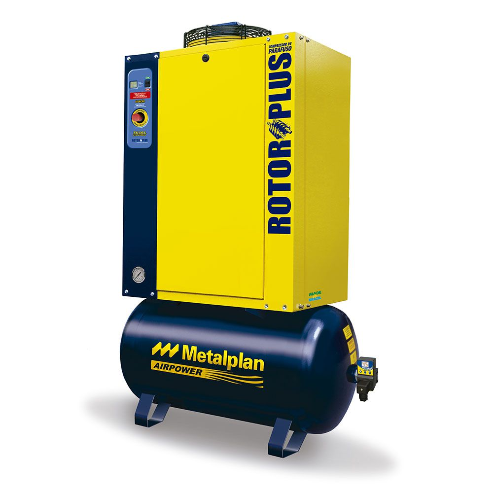 Compressor Parafuso 4HP 10 Bar 32L Trif Rotor Plus - Metalplan