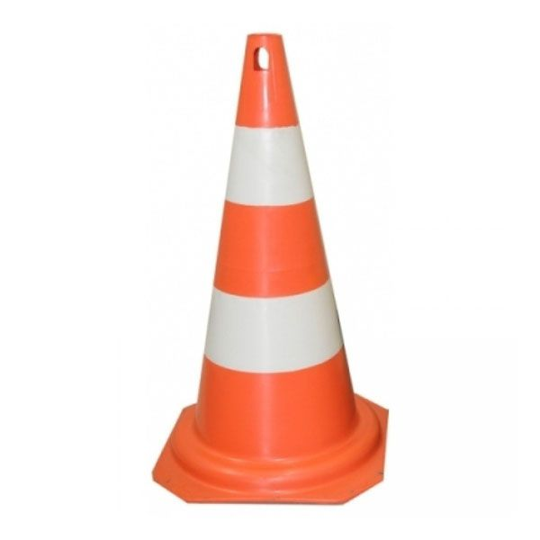 Cone De Sinalização 75cm Branco/Laranja - Plastcor
