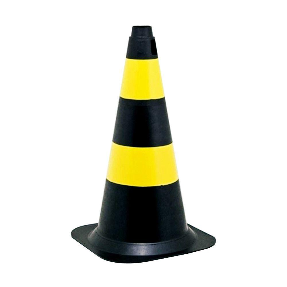 Cone De Sinalização 75cm Preto/Amarelo - Plastcor