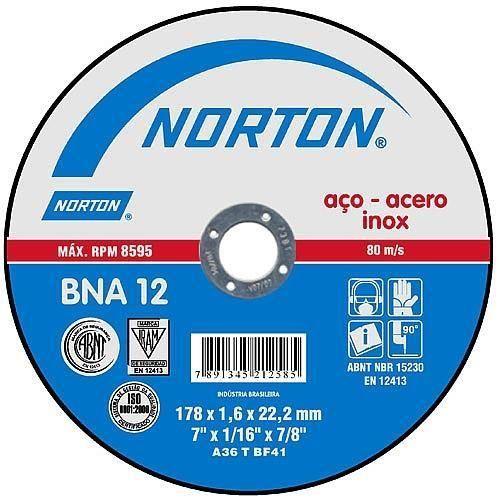 Disco De Corte Inox 178 x 1,6 x 22mm BNA12 - Norton