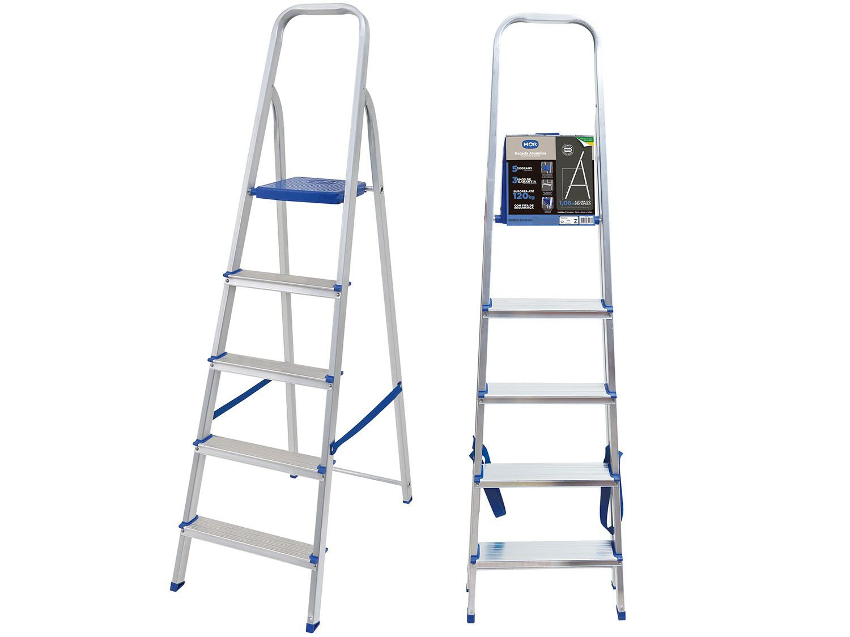 Escada De Aluminio 5 Degraus Doméstica - MOR