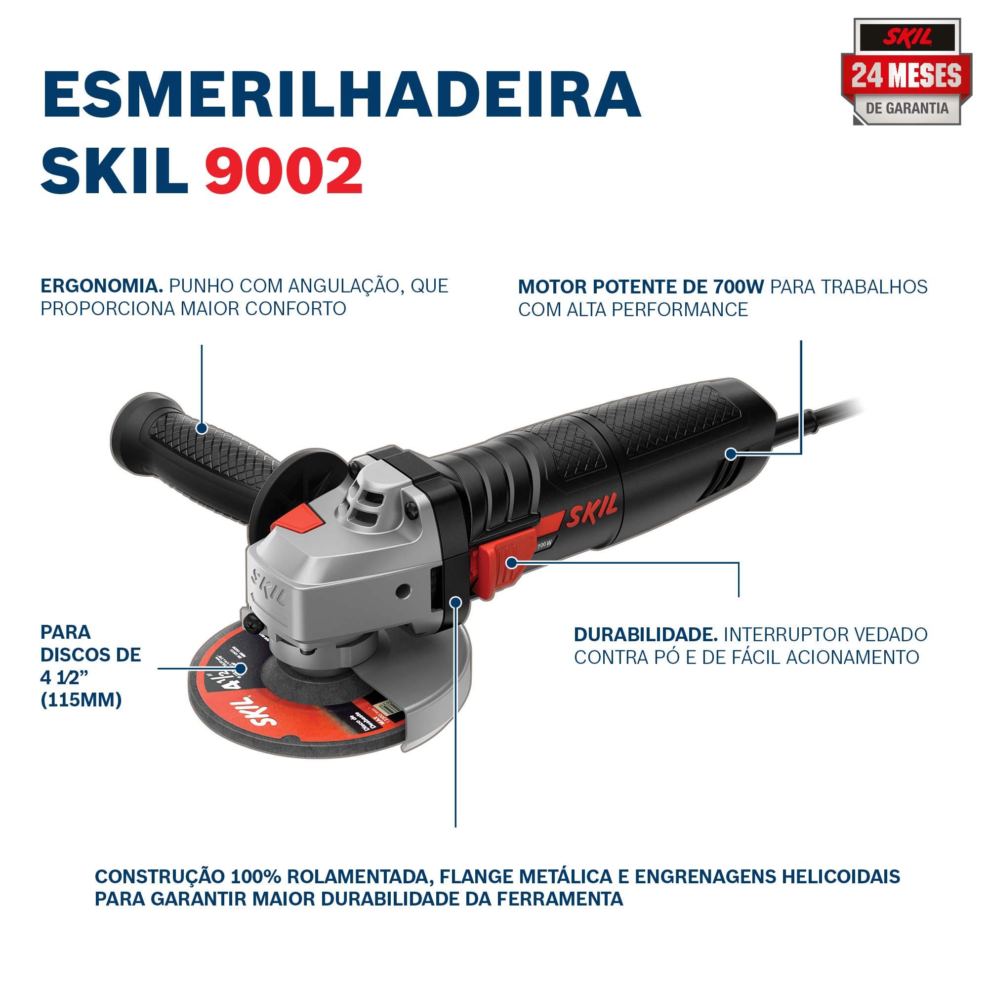 """Esmerilhadeira Angular 4.1/2"""" 700W 127V 9002 - SKIL"""