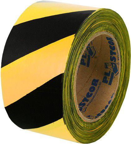 Fita Zebrada 200mts Preto/Amarelo - Plastcor