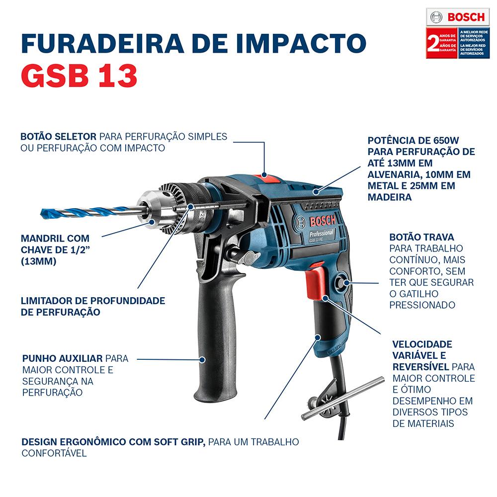 """Furadeira de Impacto 1/2"""" 650W 220V GSB 13 RE - BOSCH"""
