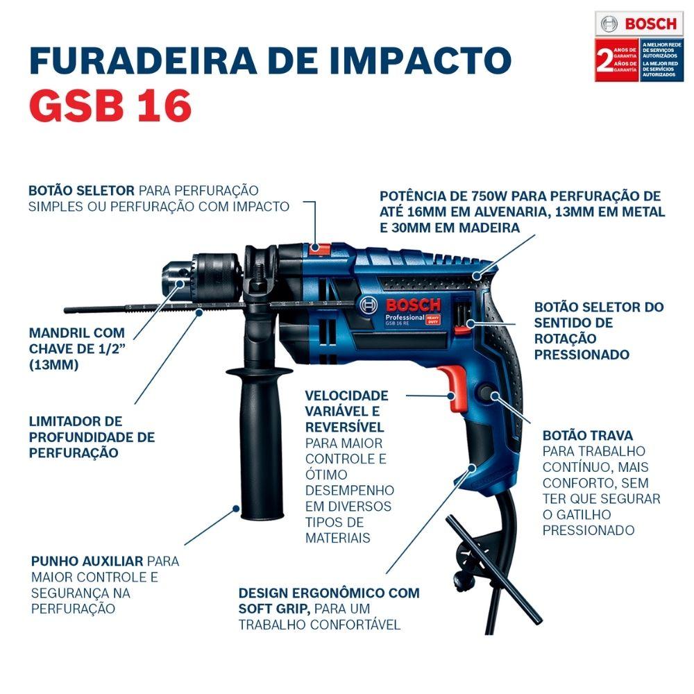 "Furadeira De Impacto 1/2"" 750W GSB 16 RE 127V s/maleta - BOSCH"