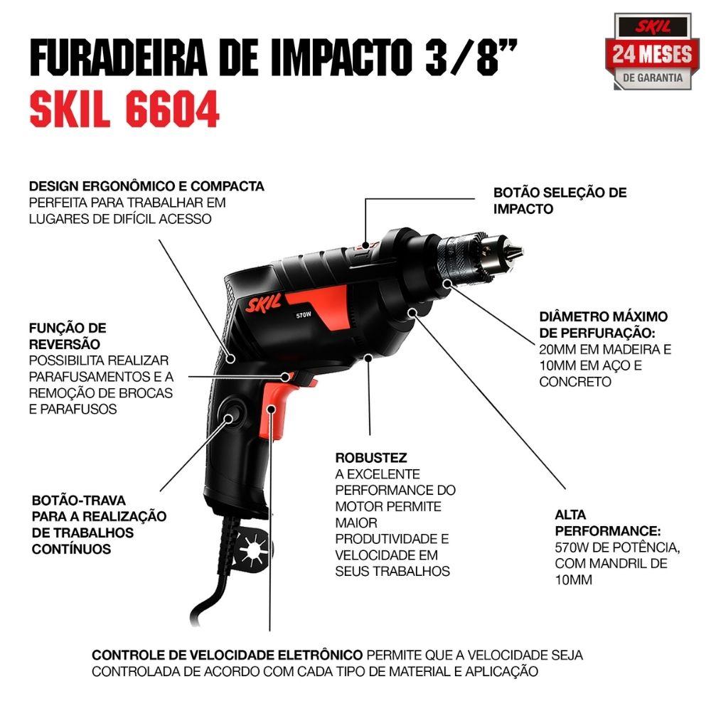 """Furadeira De Impacto 3/8"""" 570W 127V 6604 Skil"""