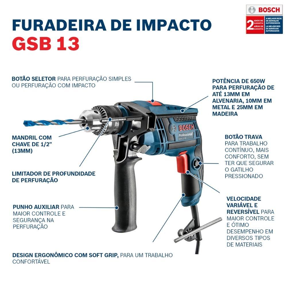 Furadeira de Impacto 650W GSB 13 RE 220V - BOSCH