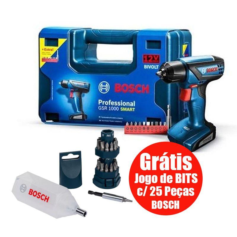 Furadeira Parafusadeira 12v Gsr1000 Smart + 35 Bits - Bosch