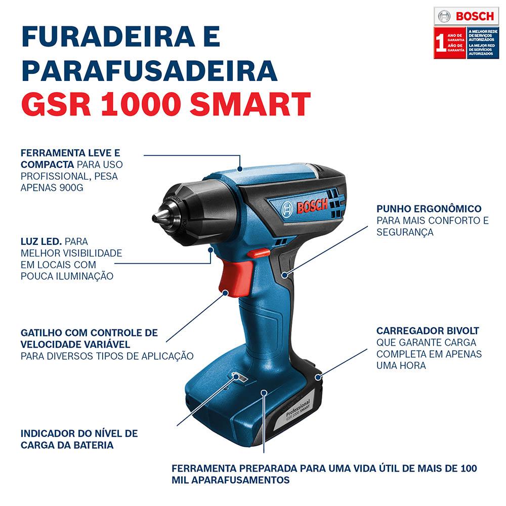 Furadeira / Parafusadeira a Bateria 12V GSR 1000 Smart Bivolt - BOSCH