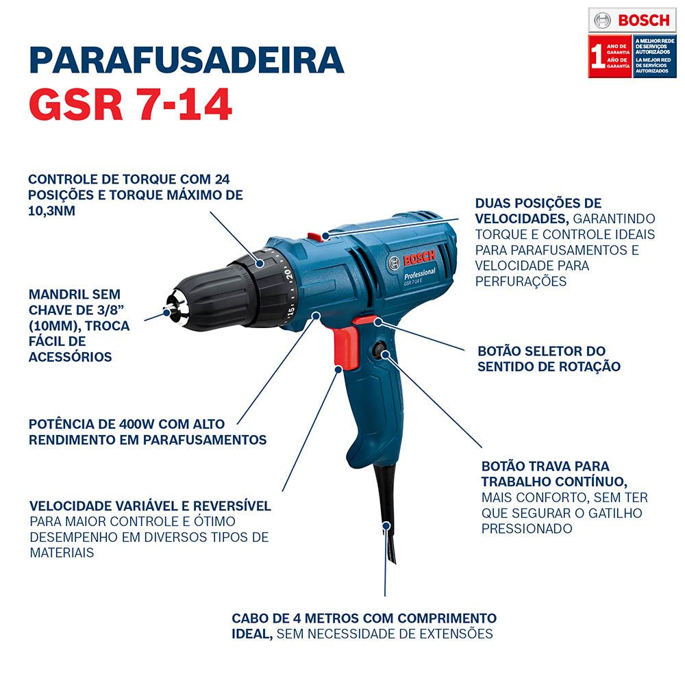 Furadeira/Parafusadeira Elétrica 400W GSR 7-14 E 220V - BOSCH