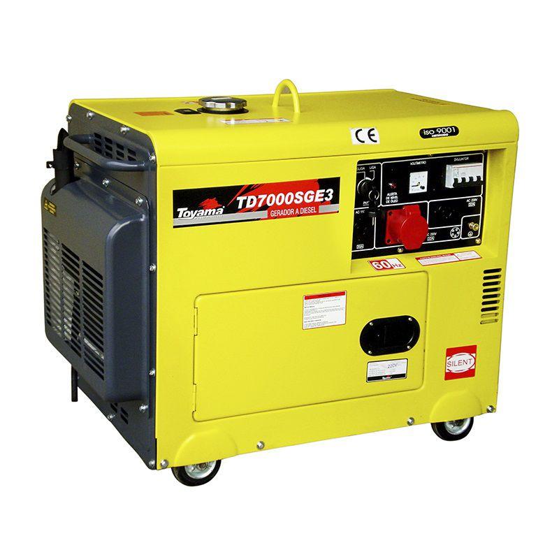 Gerador de Energia a Diesel 6,5 KVA TD 70000 SGE Trifásico 380V - TOYAMA