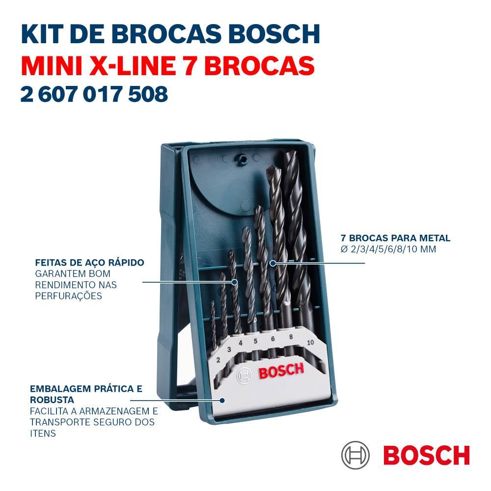 Jogo de Brocas Metal Bosch Mini X-Line 2-10mm (7 pçs)