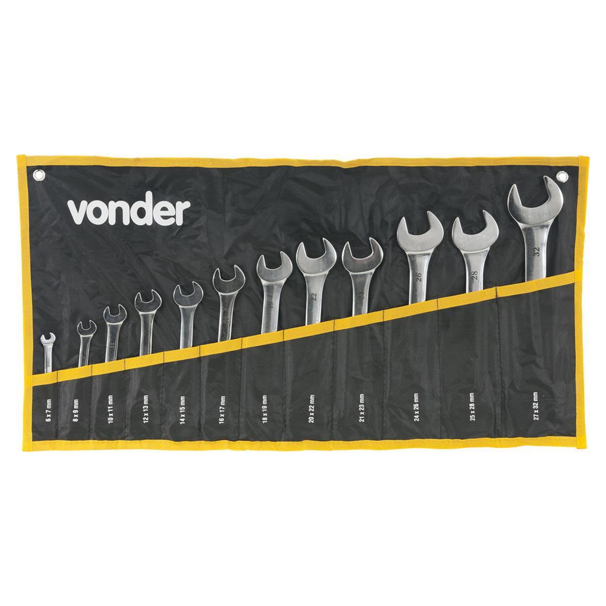 Jogo de Chave Fixa 6 a 32mm CRV Cromada 3731063200 - Vonder