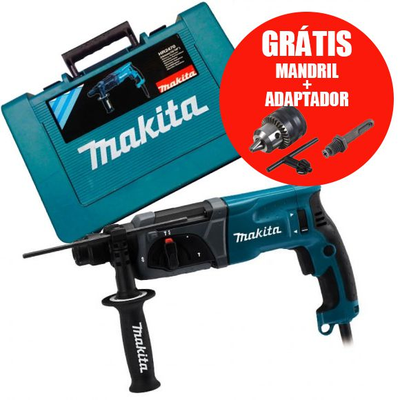 Martelete Combinado Sds Hr2470 800w 220V Makita + Adaptador e Mandril