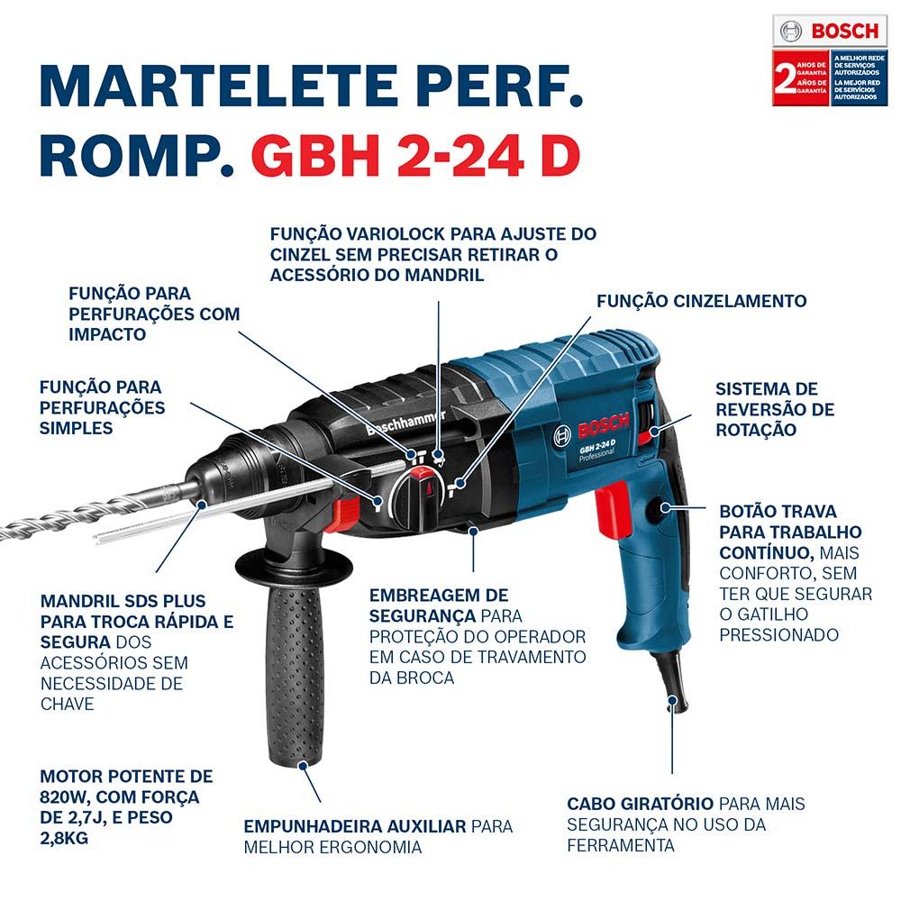 Martelete Perfurador 820W GBH 2-24 D C/ Maleta 127V - BOSCH