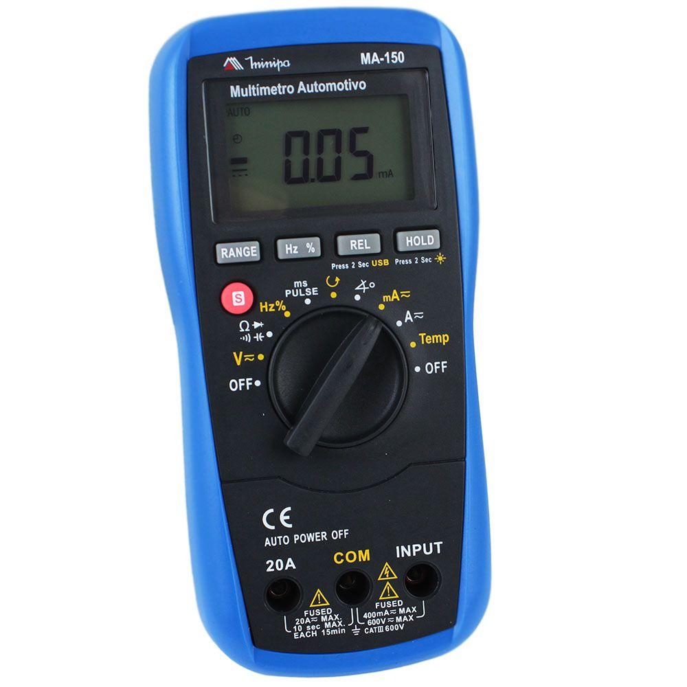 Multimetro Automotivo C/ Interface USB MA 150 - MINIPA