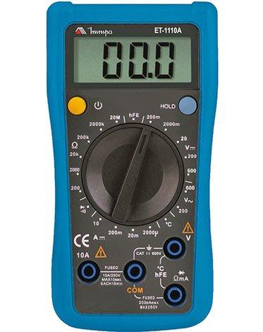 Multímetro digital 3½d 10a 20mohms- c/temp. Et-1110a - Minipa