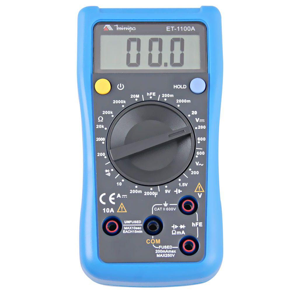 Multímetro Digital CAT II 600V ET 1100A - MINIPA