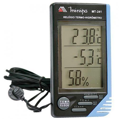 Relógio Termo Higrômetro Interno/Externo MT241 - MINIPA