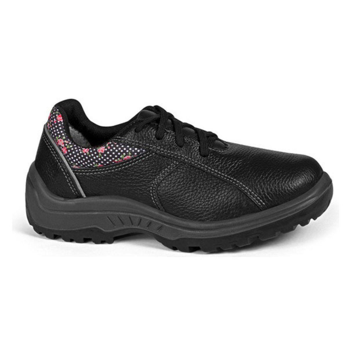 Sapato Feminino c/ Cadarço Bidensidade s/ Bico de Aço Preto N°37 - BRACOL