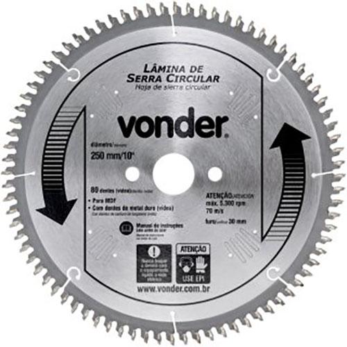 Serra Circular de Widia 250mm X 80d p/MDF Vonder