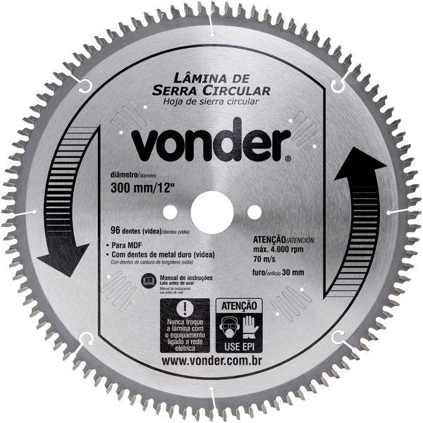 Serra Circular de Widia 300MM X 96D (F 30MM) P/MDF 4650030096 - Vonder