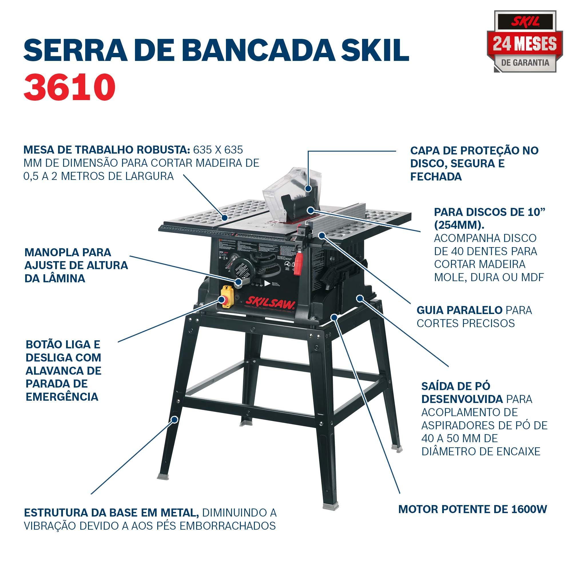 Serra de Mesa 1600W 3610 127V - SKIL