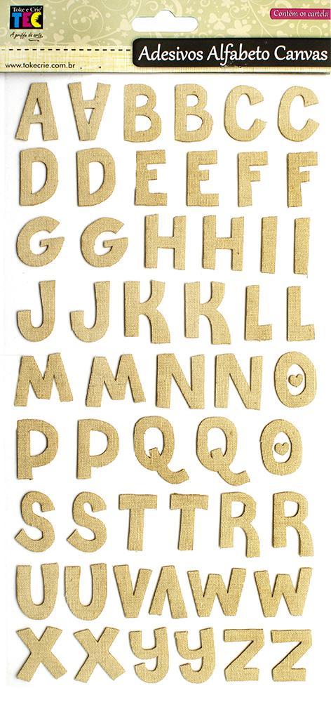 Adesivo Alfabeto Canvas Bege Toke e Crie - 15279 - AD1481
