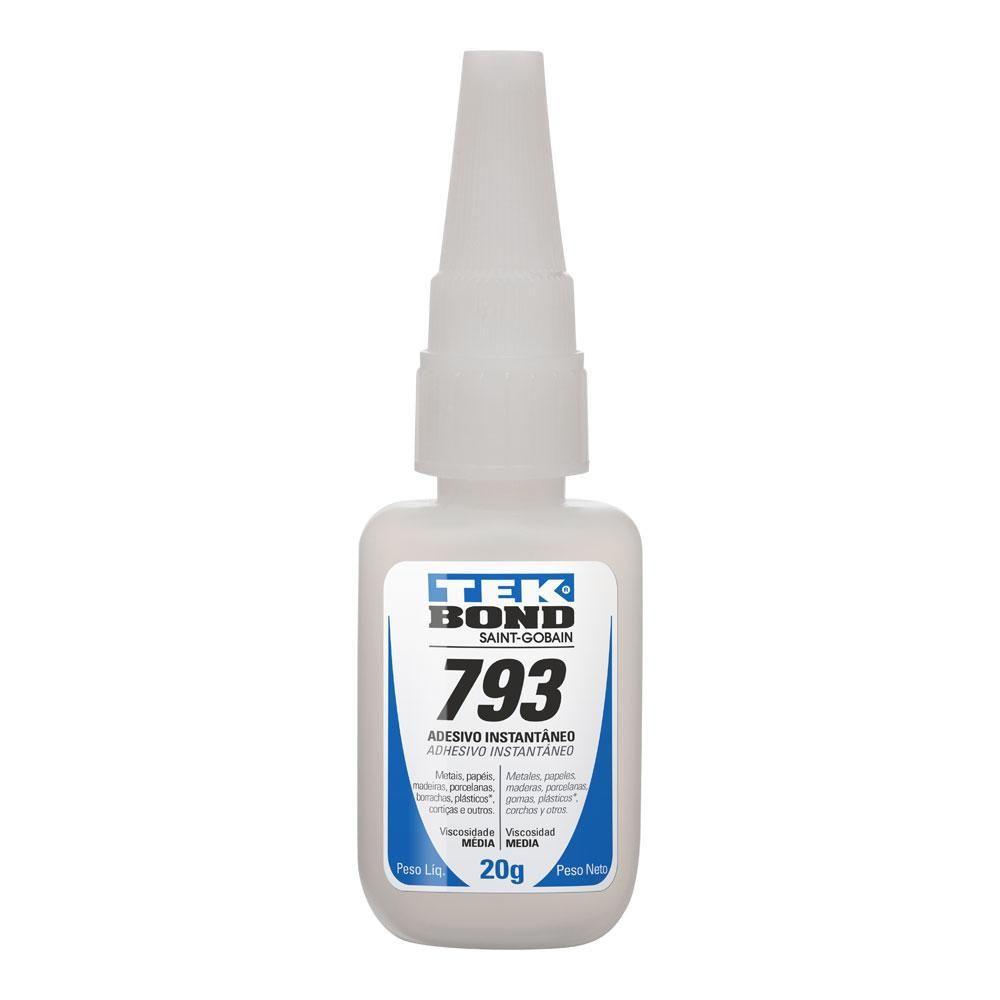 Adesivo Instantâneo 793 Média Viscosidade 20g Bico Anti Entupimento Tekbond - 20571002804