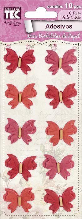 Adesivo Mini Borboletas de Papel Rouge Toke e Crie - 17568 - AD1687