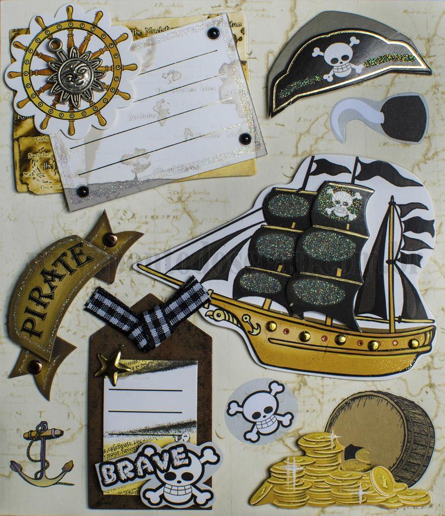Adesivo Toke e Crie Piratas 3D - 15780 - AD1583