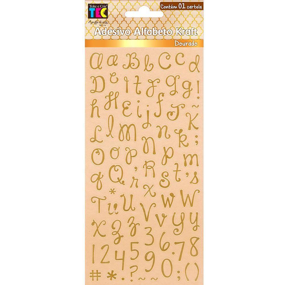 Adesivos Alfabeto Kraft Dourado Escrito à Mão Minúsculo Toke e Crie - 17876 - AD1809