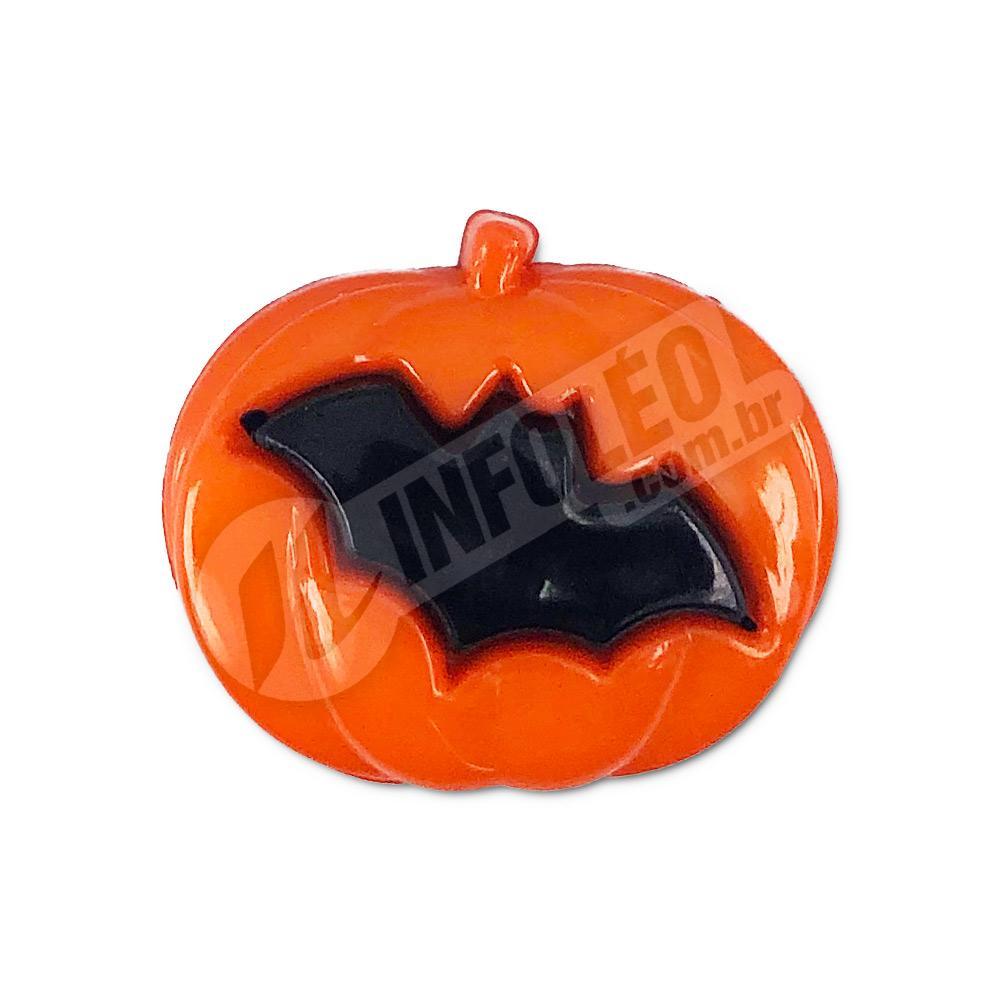 Aplique Botão Abóbora C/ Morcego 2x1,5cm Dia das Bruxas - 10 unidades